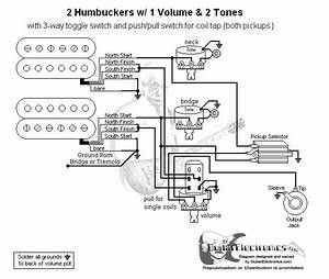 Guitar Wiring Diagram 2 Humbuckers  3 1 Volume  2 Tones  Coil Tap In 2019