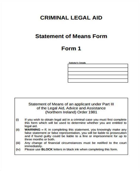 criminal legal forms legal statement form sle 8 free documents in word pdf