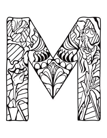 Letter M Zentangle coloring page from Zentangle Alphabet