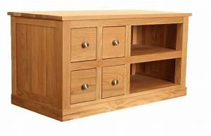 Mobel Oak Four Drawer Television Cabinet Wooden