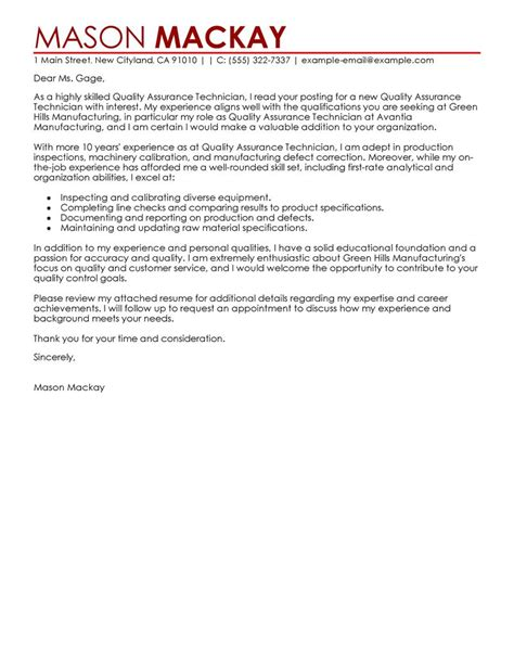 cover letter exle quality assurance 28 images cover