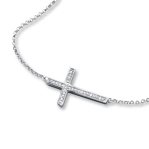 cross necklace diamond accents sterling silver