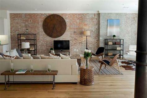 white oak floors exposed brick walls  modern living