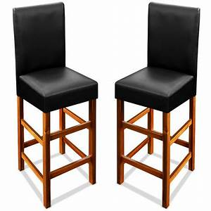 Tabouret De Bar En Bois Avec Dossier : 2x tabouret de bar en bois chaise haute avec dossier rembourr repose pieds 1021424337 ~ Melissatoandfro.com Idées de Décoration