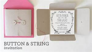 diy wedding invitation pocket with button string closure With diy pocket wedding invitations youtube