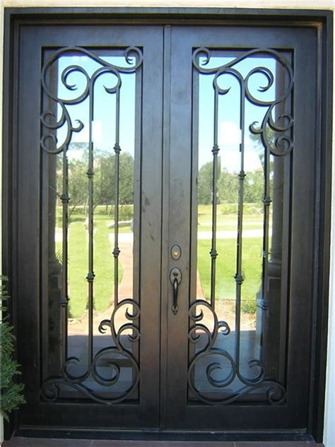 finished wrought iron front doors  rot  iron doors   color types   glass types