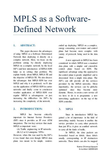 Research Paper ( Mpls As A Softwaredefined Network