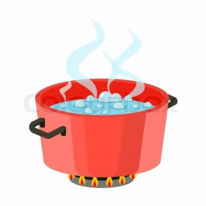 Boiling Pot Water Cooking Stove Pan Steam