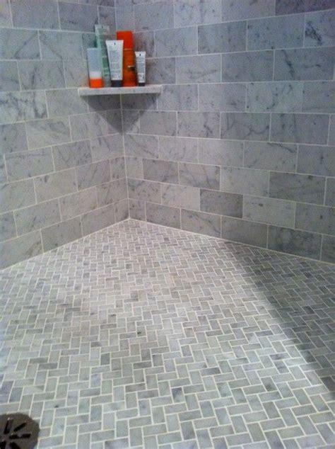 bath carrera marble subway tiles on walls floor in