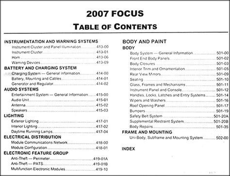 car repair manual download 2007 ford focus parking system 2007 ford focus repair shop manual original