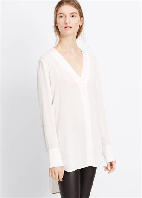 v neck blouses vince crepe sleeve v neck blouse in white lyst
