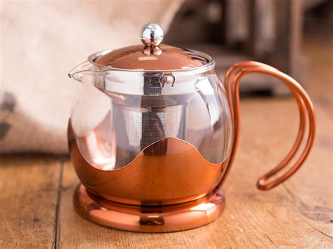 creative tops  ml copper  glass cafetiere teapot
