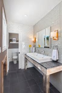 subway tile bathroom floor ideas impressive frameless mirror in bathroom rustic with two different wood floor next to white