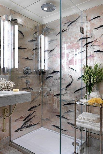 de gournay lucky fish wallpaper flora fauna bathroom