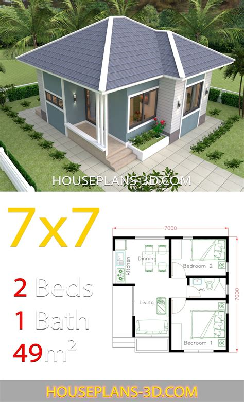 House Design 7x7 with 2 Bedrooms full plans #casaspequeñas