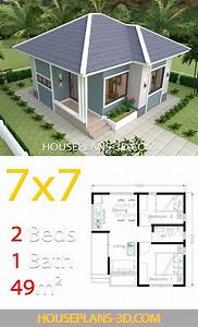 House Design 7x7 With 2 Bedrooms Full Plans  Casaspeque U00f1as