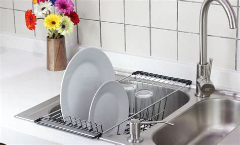 sink kitchen dish drainer rack durable chrome plated steel black neat
