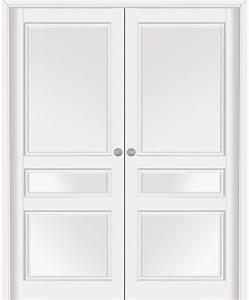 double porte coulissante quercy hetre massif blanc satin With porte de garage coulissante et porte interieur hetre massif