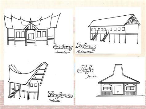 gambar rumah adat yang belum di warnai