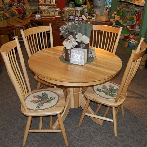 """42"""" Round Tribeca Hickory Dining Table with 4 Easton"""