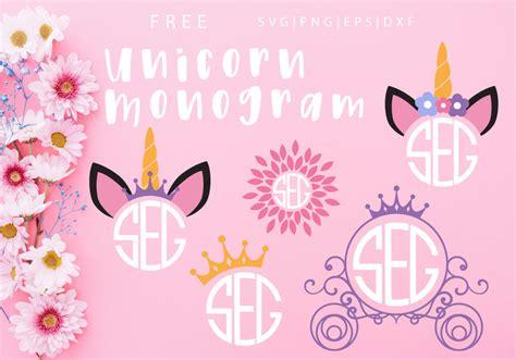 unicorn monogram  svg png dxf eps  caluya design