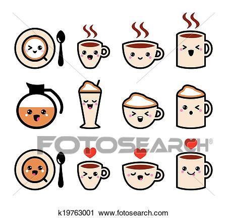 Caramel coffee cappuccino | cute kawaii drawings, cute art. Cute coffee kawaii icons Clipart | k19763001 | Fotosearch