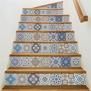 Carreaux De Ciment Autocollant : stickers escalier carreaux de ciment honduras x 2 ambiance ~ Premium-room.com Idées de Décoration