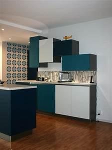 renovation cuisine bleu nocturne bleu canard gris With kitchen cabinets lowes with papier peint bleu canard