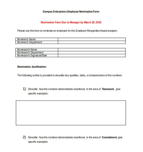 award nomination form template   word