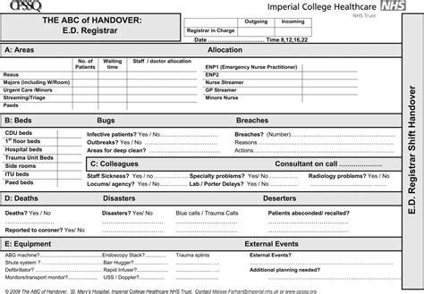 abc  handover  qualitative study  develop