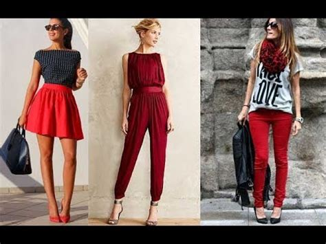 Combinar ropa de mujer de color rojo outfits - YouTube