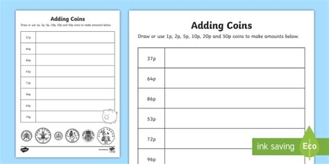 adding coins 1p 2p 5p 10p 20p 50p worksheet activity