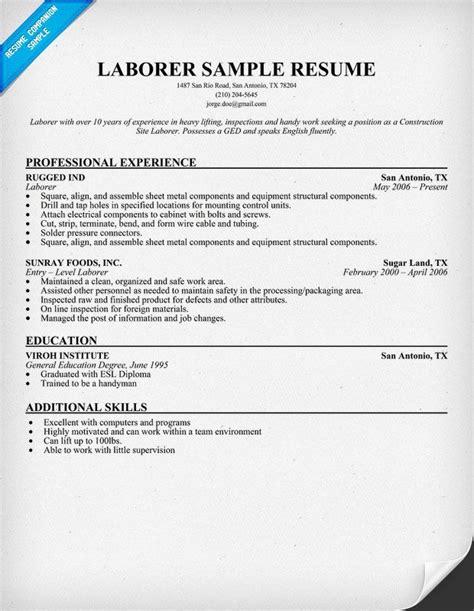 laborer resume sle resumecompanion resume sles across all industries resume