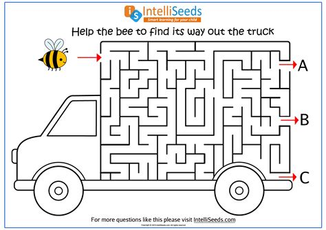 help the bee find its way out through the truck in this maze worksheet thinking skills
