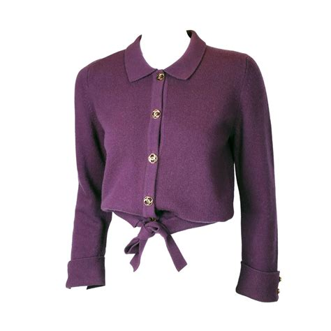 plum sweater chanel 100 purple plum sweater cardigan w cc logo