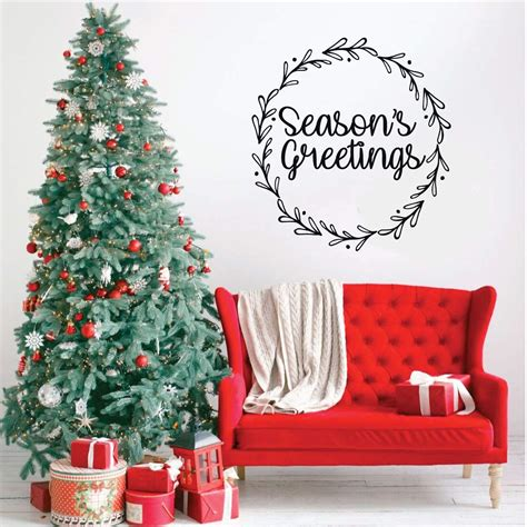 If you're crafting a nature nursery plus, add to the look during the holiday season with playful animal ornaments. Seasons Greeting Wreath Christmas Wall Decal Seasons Vinyl Decor Wall Decal - CustomVinylDecor.com
