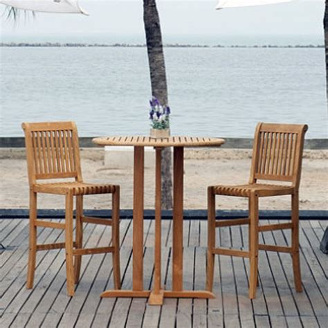 teak bar height 3 pc bistro set outdoor furniture