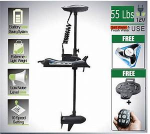 Black Bow Mount Trolling Motor 55 Lbs 12v With Extra Prop  Foot Wireless Control
