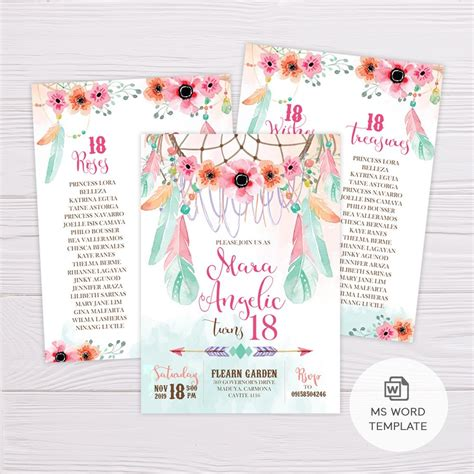 pink green bohemian debut invitation template flearn ph