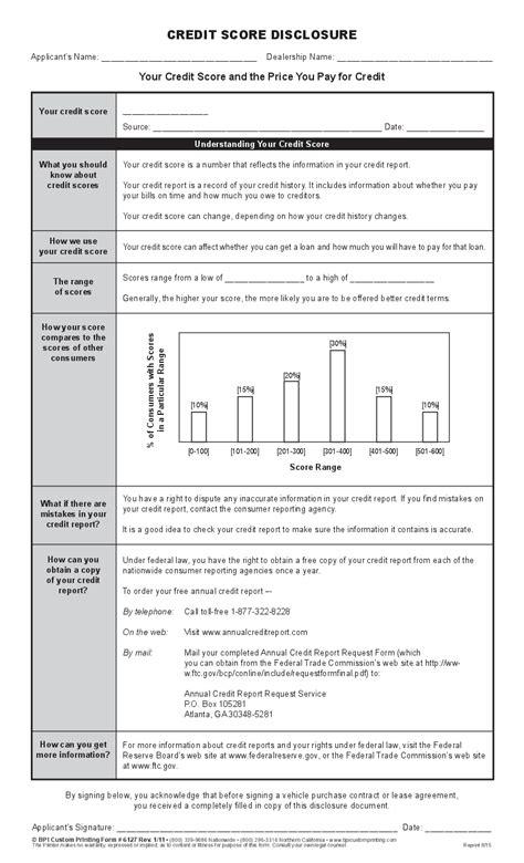 credit score disclosure bpi dealer supplies