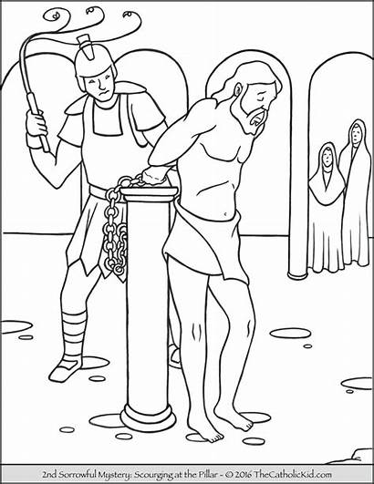 Coloring Mysteries Scourging Pages Pillar Rosary Sorrowful