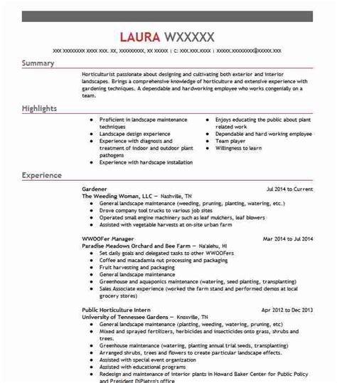 Horticulturist Resume by Horticulture And Gardening Resume Exles