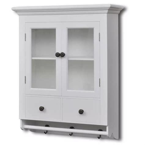 White Wooden Kitchen Wall Cabinet With Glass Door  Vidaxlcom