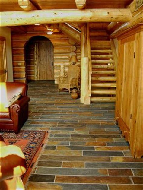 log cabin floors slate floor for our log house home dreams ideas and
