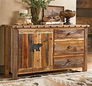 Carved, Bear, Barnwood, Cabinet