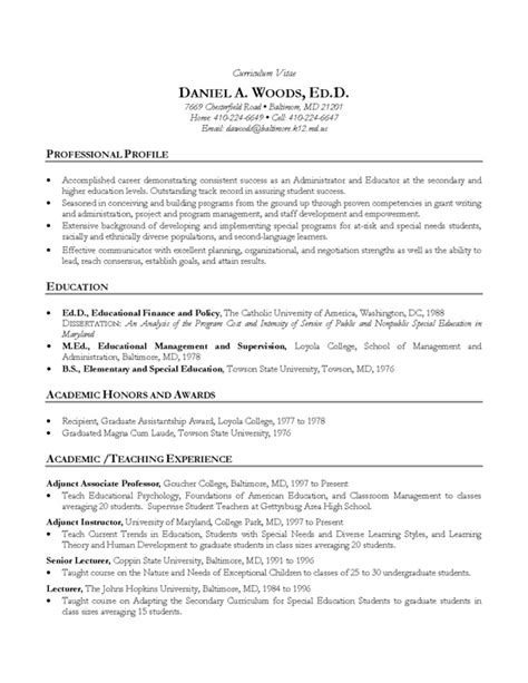 Higher Education Resume Profile by Academic Cv Exle Professor