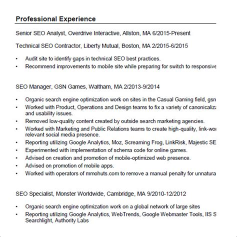 seo resume templates samples examples format