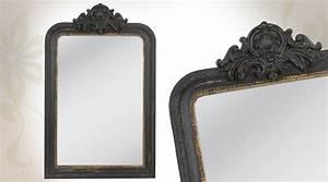 Miroir Baroque Noir : miroir de style ancien patin noir vieilli finition dor ~ Teatrodelosmanantiales.com Idées de Décoration