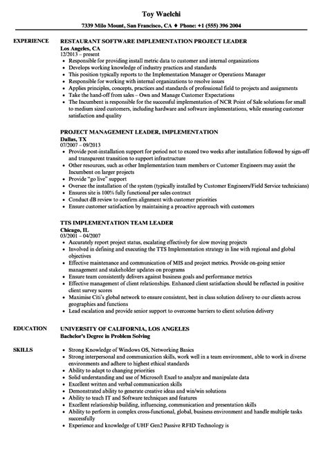 Implementation Consultant Resume by Implementation Leader Resume Sles Velvet