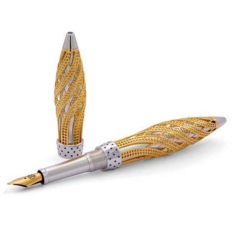 Jack Row Architect Fountain Pen 18k Yellow Gold Sapphires